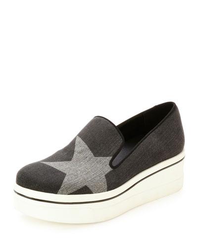 Binx Denim Star Platform Skate Sneaker, Black