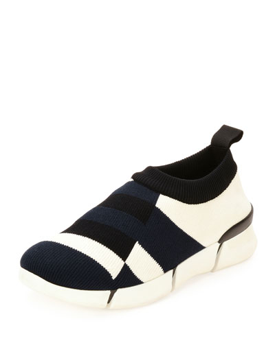 Striped Knit Slip-On Sneaker, Black Pattern