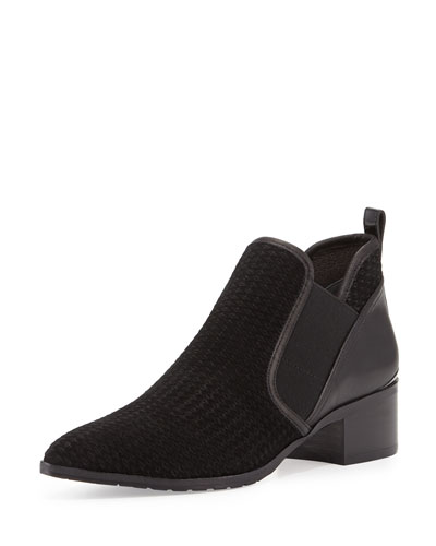 Donny Perforated Low Bootie, Black