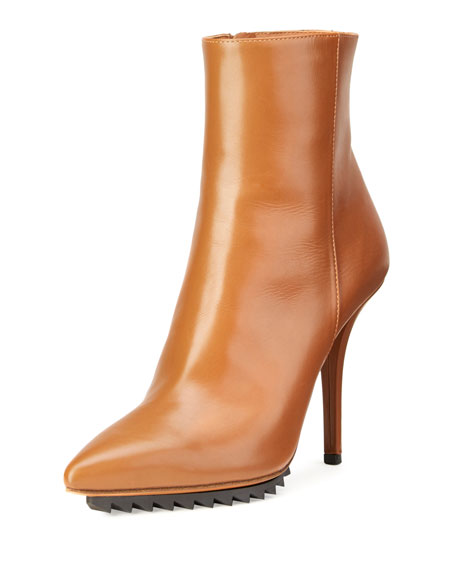 Givenchy Strettoia Leather Pointed-Toe Ankle Boot, Caramel