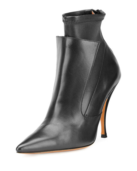 Givenchy Lux Leather Layered Ankle Boot, Black