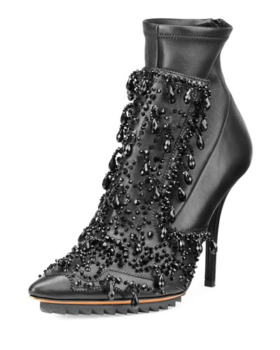Lux Beaded Leather Ankle Boot, Black