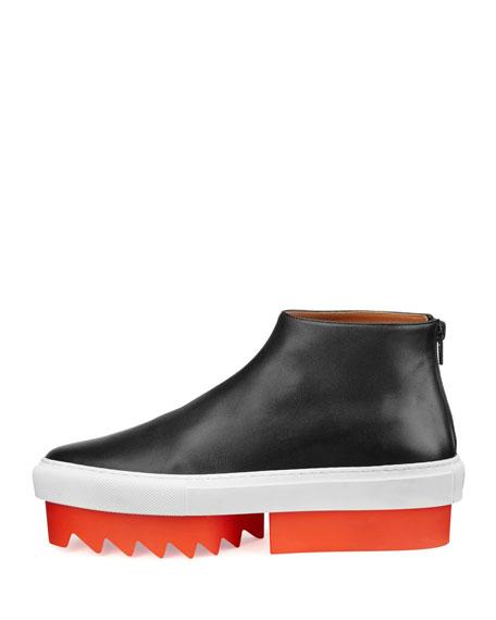 Leather High-Top Platform Skate Sneaker, Black/Orange