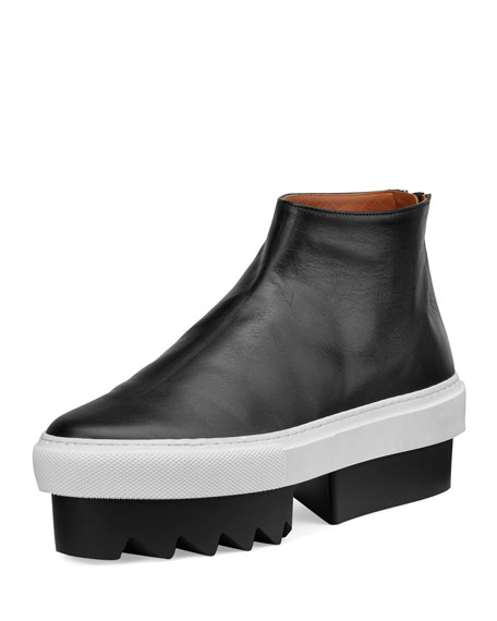 Givenchy Leather High-Top Platform Skate Sneaker, Black