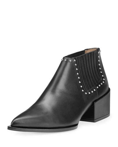 Lux Leather Studded Chelsea Boot, Black