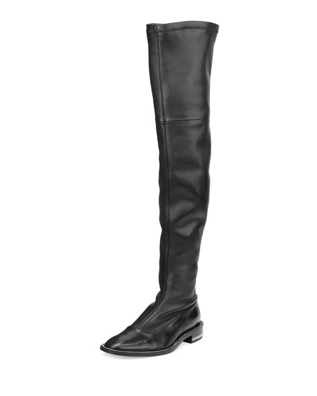 Chain-Trimmed Stretch-Leather Over-the-Knee Boot, Black