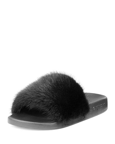 Givenchy Mink-Fur Flat Slide Sandal, Black/White
