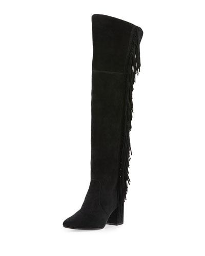 Jodi Fringe Suede Over-The-Knee Boot, Black