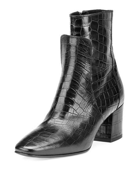 Givenchy Paris Croc-Embossed Leather 60mm Boot, Black