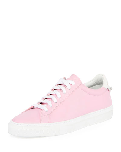 Devon Leather Low-Top Sneaker, White/Fuchsia