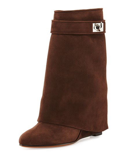 Suede Shark-Lock Fold-Over Bootie, Brown