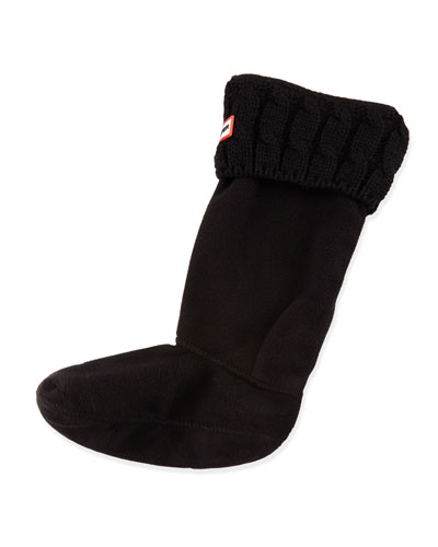 Six-Stitch Cable Boot Sock, Black