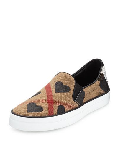 Gauden Heart Check Skate Sneaker, Black/House Check