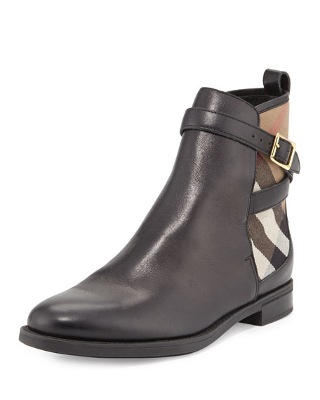 Burberry Richardson Leather & Check Bootie, Black