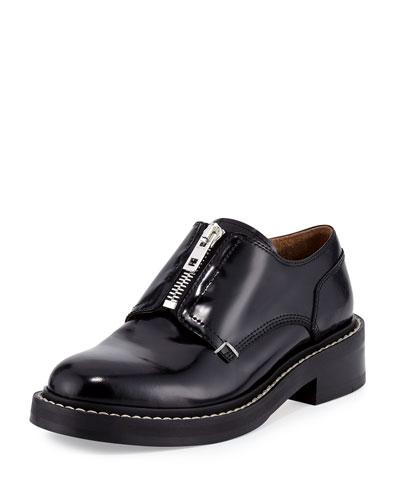 Saxon Zip-Front Leather Loafer, Black