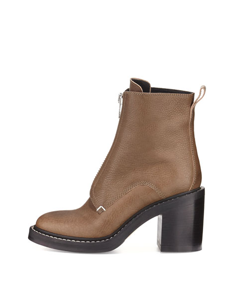 Shelby Zip-Front Leather Boot, Army Green