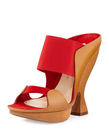 Sculpted High-Heel Mule, Flame Red