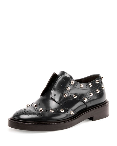 Studded Wing-Tip Derby Loafer, Bleu Obscur