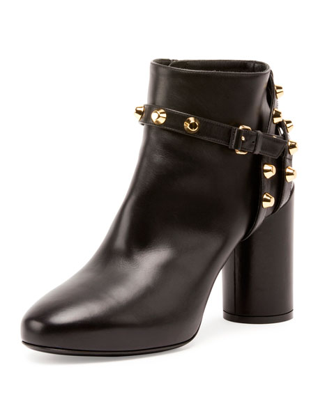 Studded Ankle-Strap 80mm Bootie, Noir