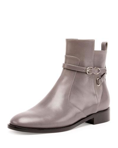 Ankle-Strap Flat Ankle Boot, Gris Acier