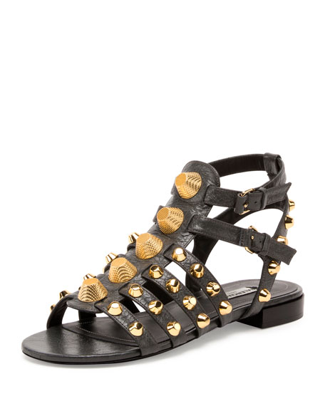 Balenciaga Studded Caged Flat Sandal, Gris Fossile