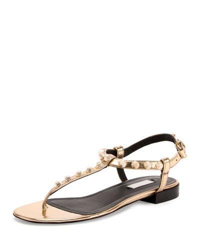 Studded Leather T-Strap Sandal, Gold