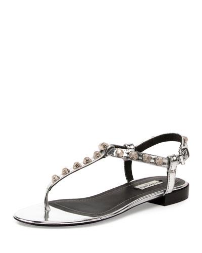 Studded Leather T-Strap Sandal, Argento/Silver