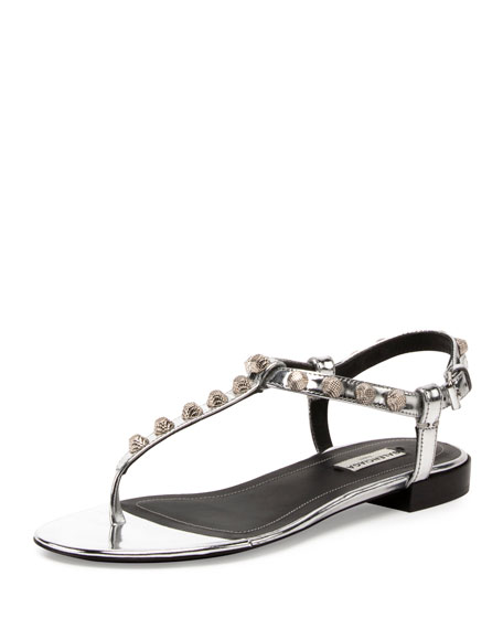 Balenciaga Studded Leather T-Strap Sandal, Argento/Silver