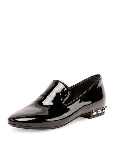 Studded-Heel Patent Smoking Slipper, Noir