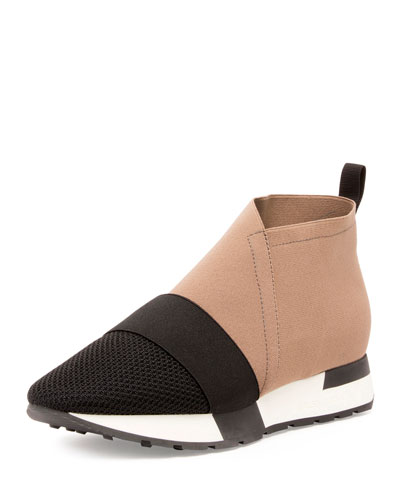 Elastic & Mesh High-Top Sneaker, Noir/Taupe