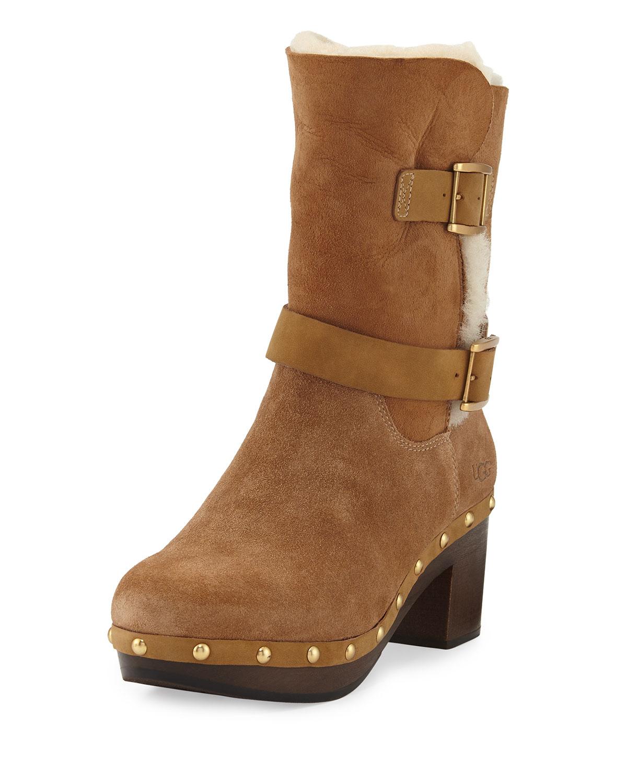 d5d306f75d8 Brea Shearling Wood-Heel Boot, Chestnut