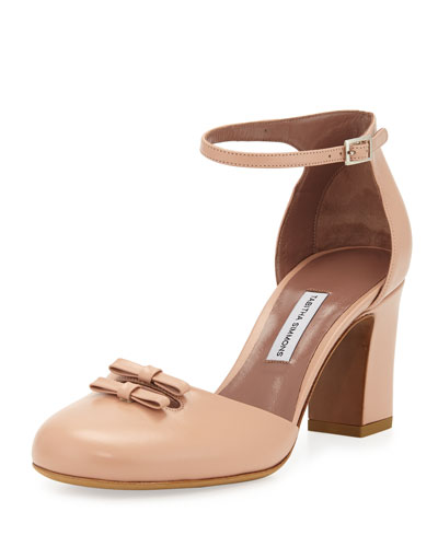 Amelia Leather Bow 75mm Pump, Flesh