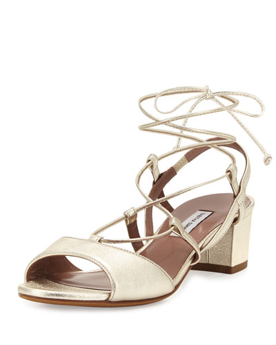 Lori Metallic Lace-Up Sandal, Gold