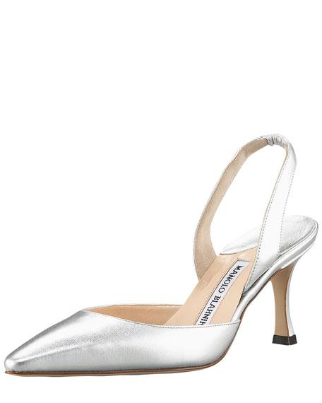 Manolo Blahnik Carolyne Napa Mid-Heel Halter, Metallic Silver