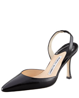 Manolo Blahnik Kidskin High-Heel Halter, Black