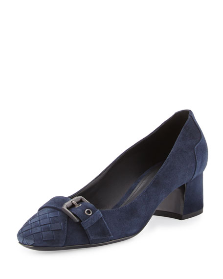 Bottega Veneta Suede Buckle-Toe 45mm Pump, Dark Navy