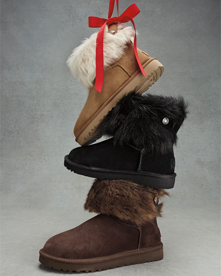 96abaece223 Valentina Crystal-Button Shearling Fur Boot