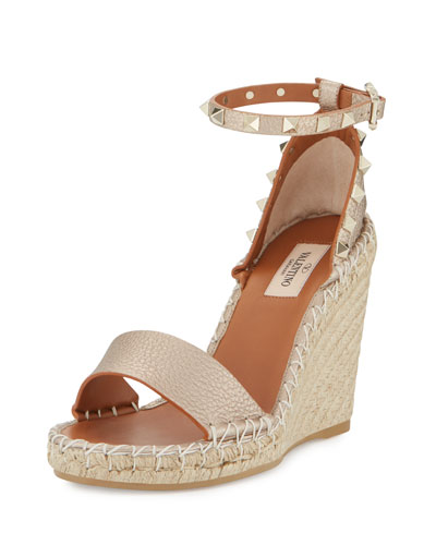 Rockstud Metallic Ankle-Wrap Wedge Sandal, Skin Metallic