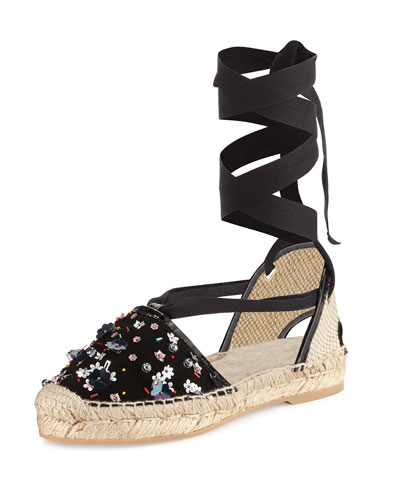 Adriana Beaded Espadrille Flat, Black