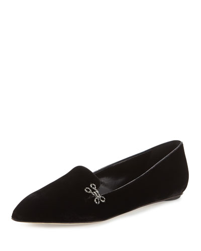 Winona Velvet Pointed-Toe Flat, Black