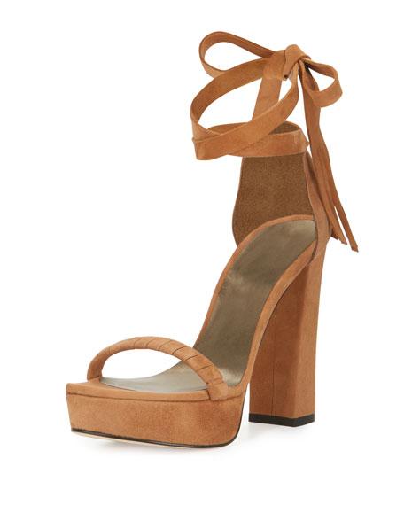 Stuart Weitzman Craft Suede Lace-Up Platform Sandal, Toffee