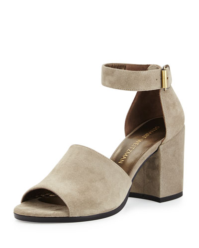 Sohogal Suede City Sandal, Rock (Light Gray)