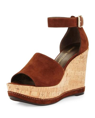 Sohogal Suede Wedge Sandal, Walnut