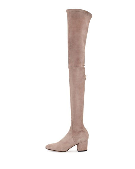 Valentino Stretch Suede Over-The-Knee Boot, Poudre