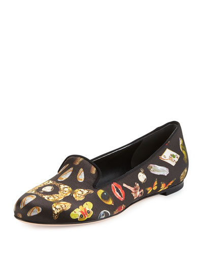 Printed Satin Smoking Slipper, Black/Multi