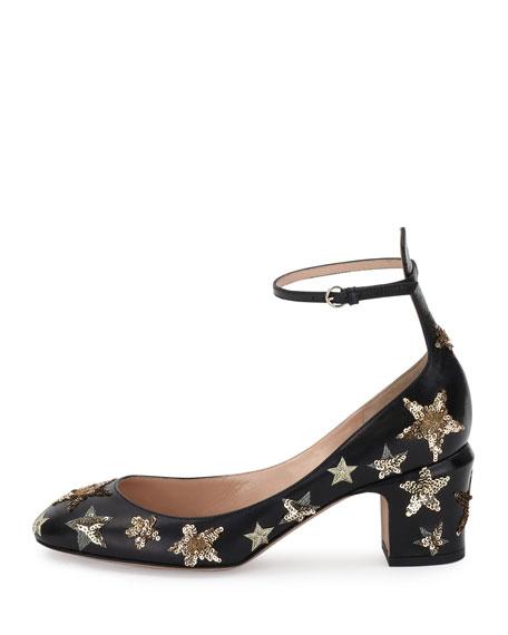 Valentino Garavani Star-Studded Low-Heel Ankle-Strap Pumps