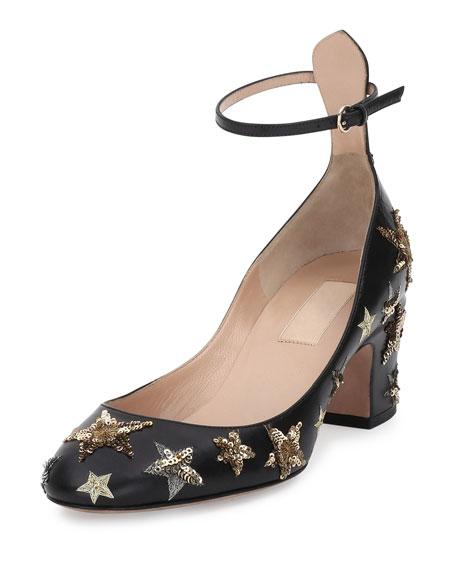 Valentino Star-Studded Low-Heel Ankle-Strap Pump, Nero/Al Campione