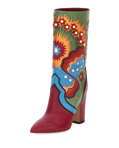 Enchanted Wonderland Leather Boot, Scarlet/Light Blue