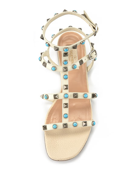 Rockstud Rolling Leather Flat Sandal, Light Ivory