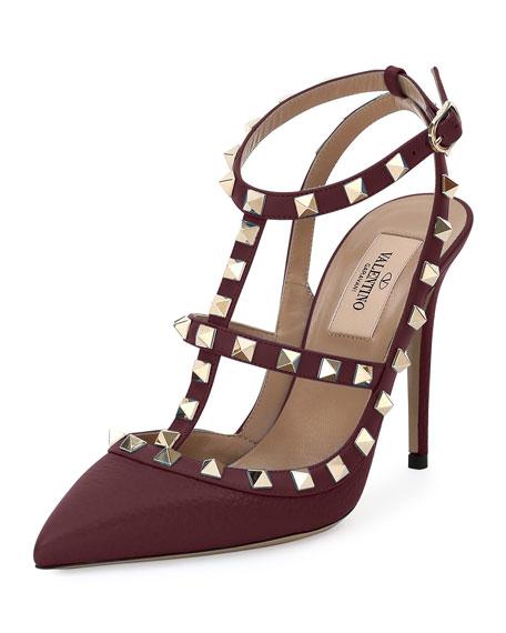 ValentinoPebbled Leather Rockstud Sandal, Rubin